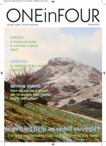 An image of a snowy mountain top forming the cover of Winter One in Four magazine