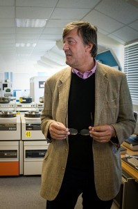 A photograph of Stephen Fry, who I am not as funny as