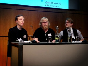 The three panelists at Right Here showcase 4th February 2013